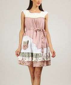 Another great find on #zulily! Old Pink & White Polka Dot Tiered Scoop Neck Dress by Ian Mosh #zulilyfinds