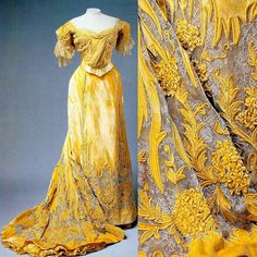 """Evening gown worn by Empress Alexandra Feodorovna of Russia, ca. 1890s-1900s.State Hermitage Museum. """"AL"""""""
