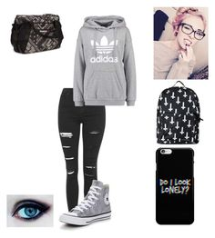 """""""Mel52237"""" by x-2manybands-x ❤ liked on Polyvore featuring Topshop, adidas Originals, Converse and Reebok"""