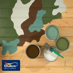 Here's how you can recreate this camouflage pattern!  Step 1 - Choose 3 - 5 different paint colours. Try the following: Forest Black 30YY 10/038, Tuscan Tan 20YY 53/238 & Napa Valley 90YY 35/304.  Step 2 - Draw the camouflage patterns onto the wall and label them 1 - 5, ranging from the lightest to darkest shade.  Step 3 - Fill in the paint accordingly. Always start with the lightest colours first before moving onto the next shade!  #DIY #Camo #Paint #Duluxsg