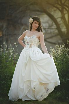 Items similar to Wildflower Embroidered Wedding Dress ~Embroidered Flower Wedding Gown~Garden Wedding Dress~Woodland Wedding Dress~ Embroidered Corset Gown on Etsy Woodland Wedding Dress, Rustic Wedding Gowns, Diy Wedding Dress, Disney Wedding Dresses, Wedding Dresses With Straps, Fit And Flare Wedding Dress, Wedding Dresses Plus Size, Modest Wedding Dresses, Designer Wedding Dresses