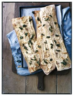 Double-click for the Flatbread with Chickpea Puree, Garlic, and Parsley Recipe created by Tony Mantuano, chef and co-owner of the famed Chicago restaurant Spiaggia, and his wife, Cathy, a Chicago-based wine consultant
