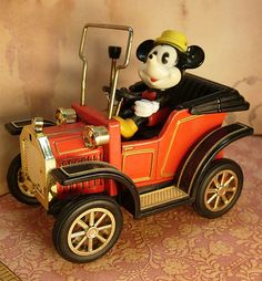 Vintage Mickey mouse Tin car with lever by vintagesparkles on Etsy, $50.00