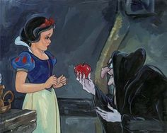 Jim Salvati No Ordinary Apple - From Disney Snow White and the Seven Dwarfs Hand-Embellished Giclee on Canvas Disney Pixar, Walt Disney, Funny Disney, Disney Magic, Disney Movies, Godard Art, Disney Fine Art, Seven Dwarfs, 7 Dwarfs
