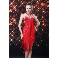 6feb14308eb2  30.63 Charming Halterneck Rhinestone and Tassels Embellished Backless Lace  Up Party Dance Dress For Women Dance