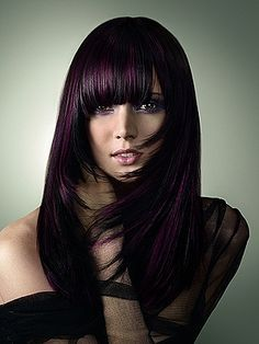 long hairstyles with bangs and aubergine color - Google Search
