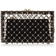 Charlotte Olympia Linear Pandora Black and Gold Clutch ($2,995) ❤ liked on Polyvore featuring bags, handbags, clutches, bolsas, purses, chain handbags, black and gold handbag, studded handbags, clasp purse and embellished handbags