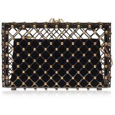 Charlotte Olympia Handbags Linear Pandora Black and Gold Clutch (11,645 GTQ) ❤ liked on Polyvore featuring bags, handbags, clutches, purses, bolsas, hand bags, handbags clutches, charlotte olympia handbags, man bag and vintage handbags