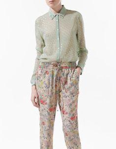 Mixed Fabric Swiss Dott Blouse
