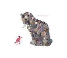 Silver CAT 8x10 Button Art, Button Artwork, wall art, feline, mouse, grays, pink, Swarovski, rhinestones, buttons, diy, ooak, made in USA