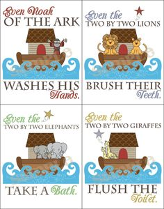 Noah's Ark Bathroom Prints by hlr976 on Etsy, $20.00