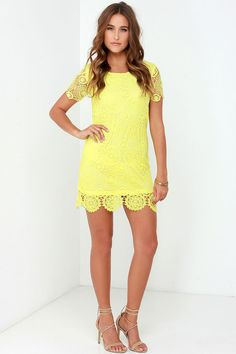 Feelin' Fine Yellow Lace Shift Dress at Lulus.com!