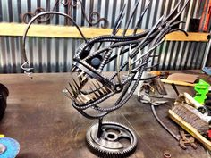Anglerfish metal sculpture by CustomCitizen on Etsy, $350.00