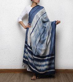 Indigo Tussar Silk Shibori Dyed Dupatta | Mura Collective