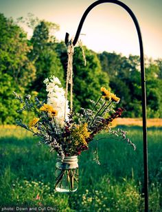 A Pretty Unique Outdoor Bouquet  A nice idea for an outdoor event.