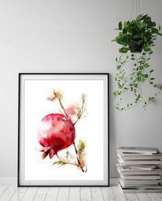 Pomegranate Print Watercolor Painting  my, golden light, Art Print by CanotStopPrints