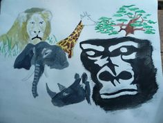 Artwork done by teenagers in Africa. Animals, safari, elephants, lions, giraffes, gorillas.  Participant in a Create Now program.