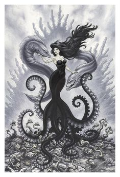 Print of the Sea Witch, Ursula! Printed with archival inks on quality cover stock paper. The original was made with pen & ink, and Copic Markers on Bristol Board. Mermaid Drawings, Mermaid Tattoos, Mermaid Art, Octopus Mermaid, Anime Mermaid, Dark Disney, Disney Art, Sea Witch, Witch Art