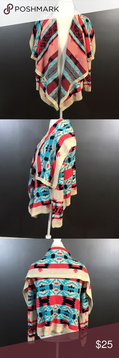 Women's Size Large Tribal Knit Cardigan Women's size large multi-colored, aztec tribal print Moon Collection long sleeve, open front cardigan. 100% acrylic. Moon Collection Sweaters Cardigans