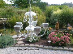 old chandelier makeover into garden candelier, outdoor living, repurposing…