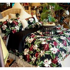Orchids represent beauty and passion! The gorgeous ''Orchids'' design appears on a dramatic background. To enhance the tropical theme, select coordinating pillows with raffia-style fringe or seashell trim. A basketweave print bed skirt and ''Orchids'' curtains complete the look.