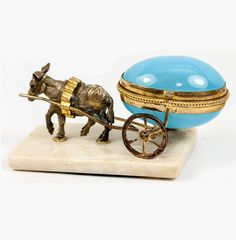 """Antique French Opaline """"Egg"""" Trinket, Thimble or Open Salt, Donkey from antiques-uncommon-treasure on Ruby Lane"""
