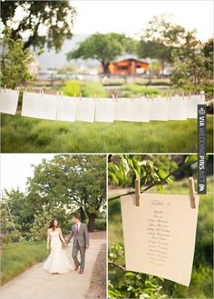 easy seating chart idea.  All you need is clothespins, twine and seating chart... and two trees of course | CHECK OUT MORE IDEAS AT WEDDINGPINS.NET | #weddings #escortcards #cards