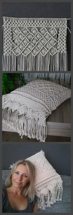Boho Macrame pillow Would make cute purse Macrame Design, Macrame Art, Macrame Projects, Micro Macrame, Sewing Projects, Macrame Curtain, Macrame Plant Hangers, Macrame Patterns, Knitting Patterns