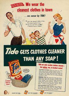 1952 Illustrated Ad, Tide Detergent, Atomic-era Family Singing
