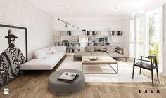 nasycone bielą - Duży salon z bibiloteczką z tarasem / balkonem, styl skandynawski - zdjęcie od LAVA Projektowanie Wnętrz