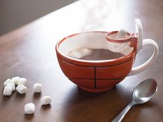 Designed by an 8-year-old sports fan for shooting marshmallows into cocoa, this Grommet brings game time fun to meal and snack time.