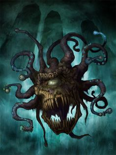 Undead Lich Beholder Raven Mimura( this would probably be the worst thing ever besides an undead lich dragon) Fantasy Rpg, Fantasy Artwork, Dark Fantasy, Fantasy Monster, Monster Art, Fantasy Creatures, Mythical Creatures, Dnd Monsters, Dnd Art