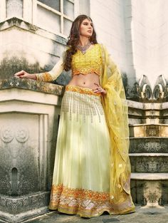 Cream Georgette Lehenga Choli with Resham Embroidery Work