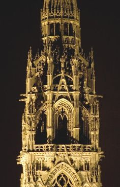 Notre Dame de Chartres Cathedral, France. North Tower from the East- Night View
