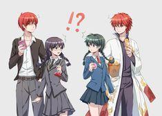 """Assassination Classroom"" ""Kyoukai no Rinne"" Characters: ""Akabane Karma"" ""Mamiya Sakura"" ""Okuda Manami"" ""Rokudou Rinne"""