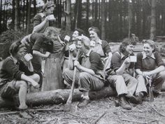 Lumberjills of The Women's Timber Corps. Having a mug of reviving tea in the middle of a workday. The Women's Timber Corps was disbanded in August 1946. The 8,700 women of the Corps received no recognition, despite providing 60 per cent of the timber needed by the UK during the war. They finally gained a fitting memorial in 2007, when the Forestry Commission Scotland unveiled a powerful life-ize bronze sculpture by Malcolm Robertson. Much more at the link!