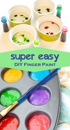 Easy Homemade Finger Paint, DIY and Crafts, Homemade finger paint is easy to make, saves money and your kids can even pick their own colors. We tried two different recipes with slightly differen. Fun Crafts For Kids, Baby Crafts, Diy For Kids, Home Made Paint For Kids, Easy Toddler Crafts 2 Year Olds, Crafts For Babies, Diy Kids Paint, How To Make Paint, Diy Projects For Kids