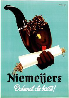 "Dutch ad poster for Niemeijers Tobacco (""recognized as the best"") - circa 1950 - artist Koen van Os."
