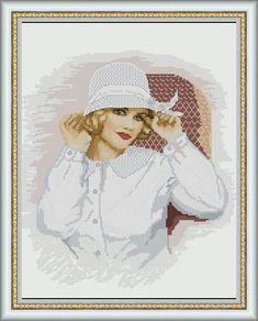 0 point de croix femme en chemise et chapeau blanc - cross stitch lady in white shirt and hat
