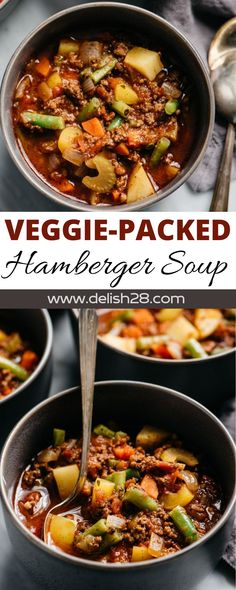 VEGGIE-PACKED HAMBURGER SOUP How To Dry Oregano, How To Dry Basil, Crispy Chicken Burgers, Hamburger Soup, Cheeseburger Soup, Vegetable Stew, Food Blogs, Ground Beef, Green Beans