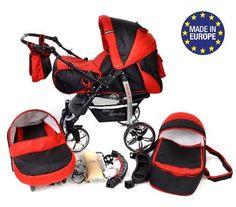 Baby Sportive - Sistema de viaje 3 en 1, silla de paseo, carrito con capazo y silla de coche, RUEDAS GIRATORIAS y accesorios, color negro, rojo  #cochecitosbebe