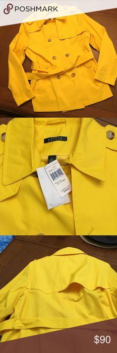FINAL PRICE Lauren Yellow Belted Jacket Beautiful Lauren Yellow Double Breasted, Belted Jacket with front pockets and extra buttons Lauren Ralph Lauren Jackets & Coats Trench Coats