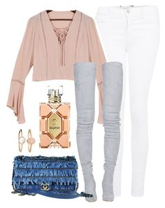 """""""blush tones"""" by alexiszadeh ❤ liked on Polyvore featuring J Brand, Balmain, Chanel, Wildfox and Accessorize"""