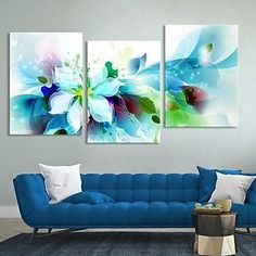Canvas Set of 3 Modern Abstract Blue Flowers Stretched Canvas Print Ready to Hang – GBP £ Pintura Graffiti, Panel Art, Stretched Canvas Prints, Blue Flowers, Diy Flowers, Flowers Decoration, Body Painting, Painting Art, Painting Inspiration