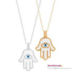 Hamsa Hand Necklace with Seed Beads Loom Bracelet Patterns, Peyote Stitch Patterns, Bead Loom Bracelets, Beading Patterns, Hamsa Jewelry, Beaded Jewelry, Hamsa Hand, Brick Stitch, Diy Necklace