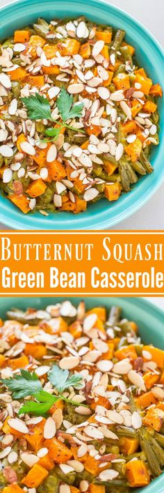 Roasted Butternut Squash Green Bean Casserole - Move over classic casserole! This updated version has roasted butternut squash and crunchy sliced almonds! Perfect for Thanksgiving or holiday meals! Healthy Side Dishes, Vegetable Side Dishes, Side Dish Recipes, Vegetable Recipes, Thanksgiving Recipes, Holiday Recipes, Dinner Recipes, Holiday Meals, Classic Green Bean Casserole