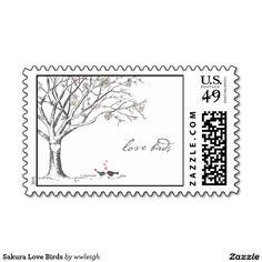 Sakura Love Birds Stamps