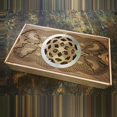 Laser etched, CNC, metal inlay, Chinese tea tray, gong fu cha