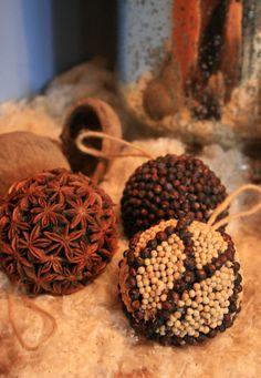 Spice ornaments--anise star, juniper berries, peppercorns...