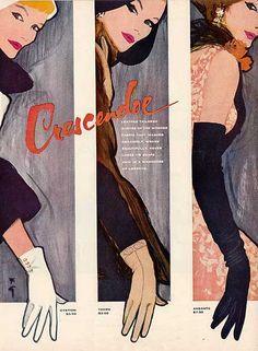 Crescendoe Gloves Illustration by Rene Gruau, 1957